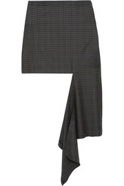 Balenciaga Asymmetric checked wool-twill skirt