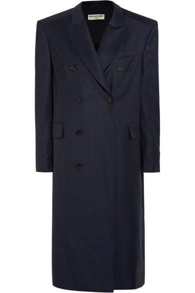Balenciaga - Oversized Checked Wool Coat - Navy