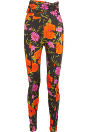 Floral-print stretch-satin skinny pants