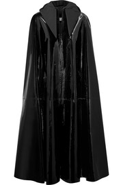 Patent-leather hooded cape