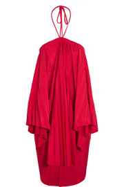 Balenciaga Convertible pleated stretch-satin halterneck dress