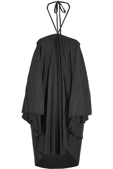 Balenciaga - Convertible Pleated Stretch-satin Halterneck Dress - Black