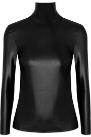 Balenciaga Open-back stretch-satin turtleneck top