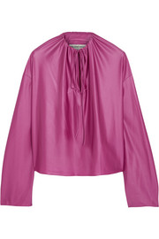 Balenciaga Gathered stretch-satin top