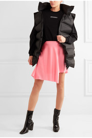 Asymmetric stretch-satin wrap skirt