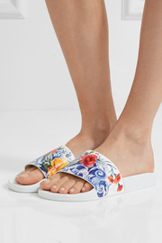 Dolce & Gabbana Printed leather slides