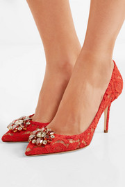 Crystal-embellished corded lace pumps