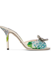 Dolce & Gabbana Crystal-embellished floral-print glossed-leather mules