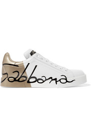 Dolce & Gabbana Painted matte and patent-leather sneakers