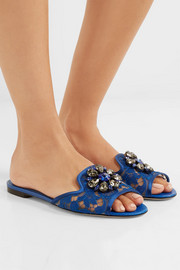 Dolce & Gabbana Embellished corded lace and lizard-effect leather slides