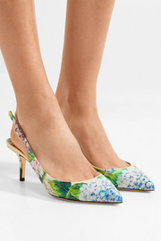 Dolce & Gabbana Floral-print glossed-leather slingback pumps
