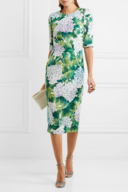 Dolce & Gabbana Floral-print silk-blend charmeuse midi dress