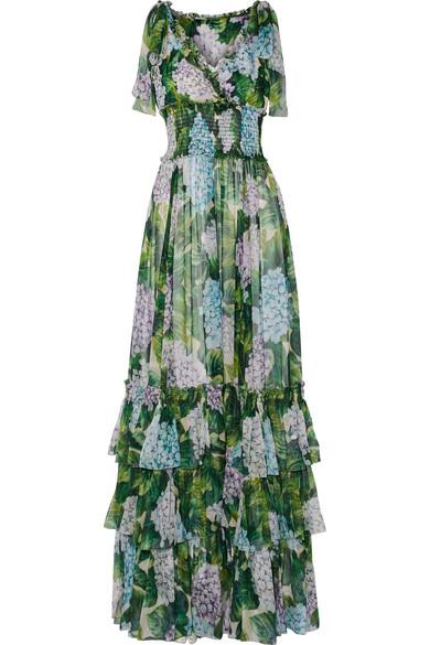 Dolce & Gabbana - Ruffled Floral-print Silk-chiffon Gown - Green