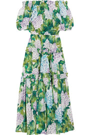 Dolce & Gabbana Off-the-shoulder floral-print cotton-poplin midi dress