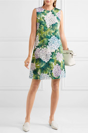 Dolce & Gabbana Floral-print cotton-blend cloqué mini dress