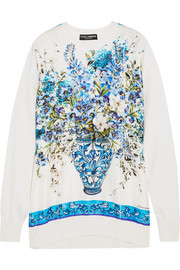 Dolce & Gabbana Printed silk-satin and knitted silk sweatshirt
