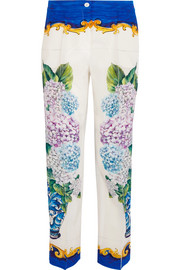 Printed silk crepe de chine straight-leg pants
