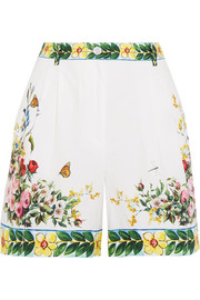 Printed cotton-poplin Bermuda shorts