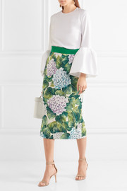 Floral-print silk-blend charmeuse midi skirt