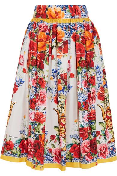 64c068f831 Dolce & Gabbana | Floral-print silk-twill midi skirt | NET-A-PORTER.COM