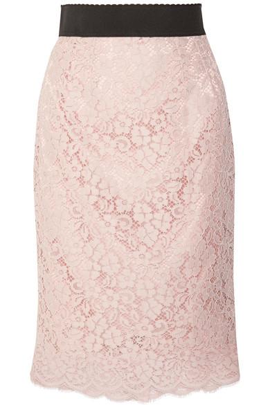 Dolce & Gabbana Midirock aus schnurgebundener Spitze aus einer Baumwollmischung