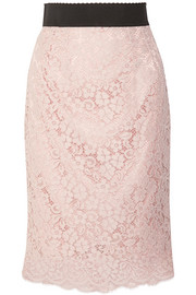Corded cotton-blend lace midi skirt