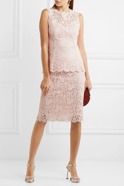 Dolce & Gabbana Corded cotton-blend lace midi skirt