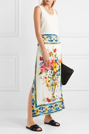 Floral-print stretch-silk midi skirt