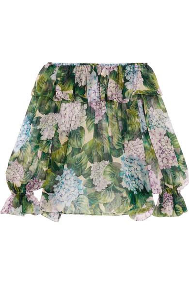 Dolce & Gabbana - Off-the-shoulder Ruffled Floral-print Silk-chiffon Top - Green
