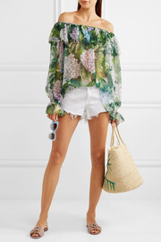Dolce & Gabbana Off-the-shoulder ruffled floral-print silk-chiffon top