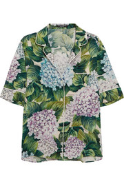 Floral-print silk-blend charmeuse shirt