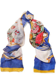 Printed silk-voile scarf