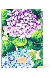 Dolce & Gabbana Floral-print textured-leather passport cover