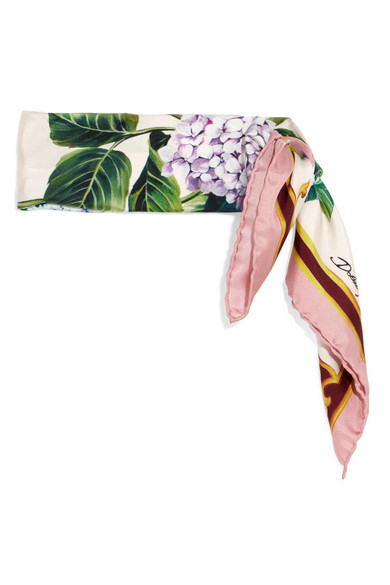 Floral-print Silk-twill Scarf - Pink Dolce & Gabbana 0olfzZd3Me