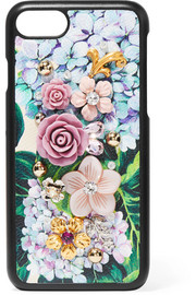 Embellished floral-print textured-leather iPhone 7 case