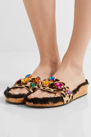 Sophia Webster Lyla embellished leopard-print calf hair and shearling slides