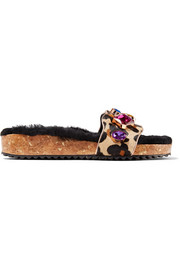 Lyla embellished leopard-print calf hair and shearling slides