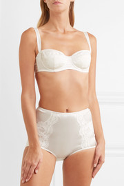 Dolce & Gabbana Lace-trimmed stretch-silk satin underwired balconette bra