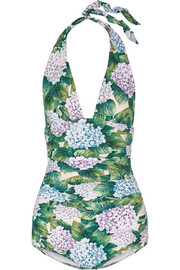 Dolce & Gabbana Ruched printed halterneck swimsuit