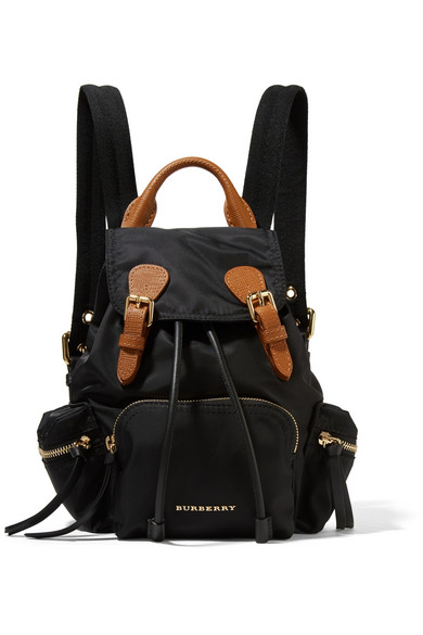 Small leather-trimmed gabardine backpack