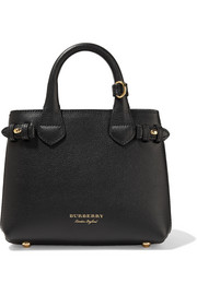 Burberry Mini textured-leather and checked-twill tote