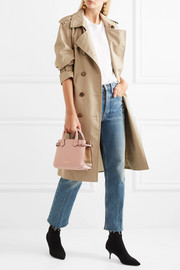 Burberry Mini checked twill-paneled textured-leather tote