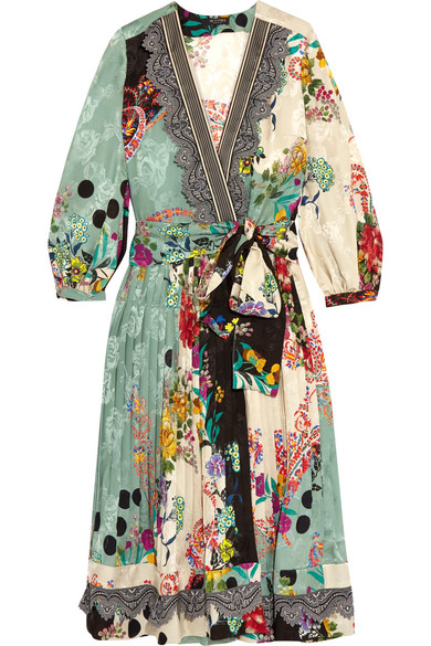 Etro - Printed Jacquard Wrap Dress - Green