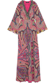 Etro Sequin-embellished paisley-print silk gown