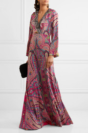 Sequin-embellished paisley-print silk gown