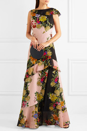 Ruffled floral-print crepe and silk-chiffon maxi dress
