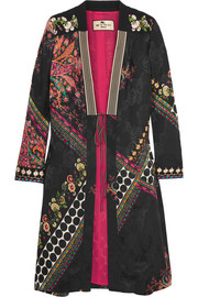 Embroidered satin-jacquard jacket