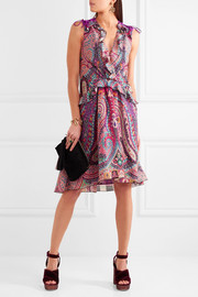 Ruffled floral-print silk dress
