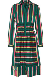Etro Pleated striped cotton-blend dress