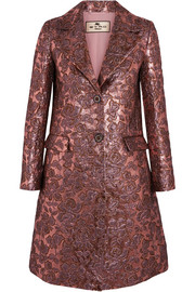 Etro Metallic wool-blend jacquard coat